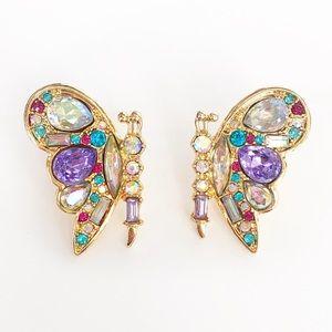 Crystal Rhinestone Blooming Butterfly Earrings